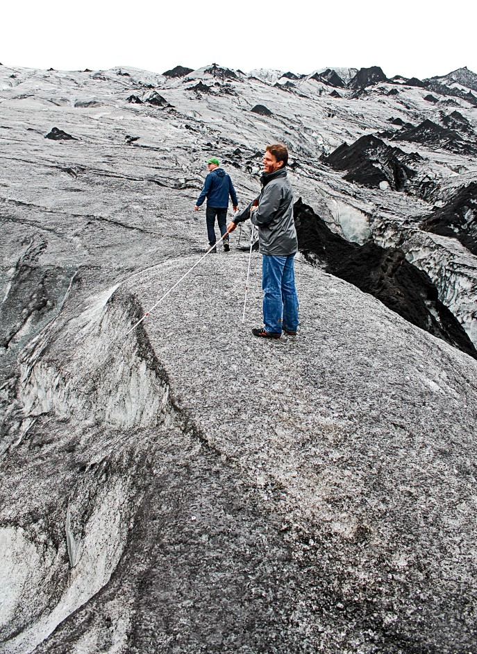 Daniel Kish hiking an Icelandic Glacier. Photo provided by: Daniel Kish