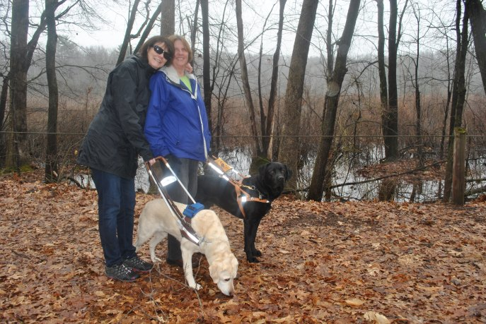 Maryanne Mellui and Beth Rival hit the trail with their dogs Aza and Finbarr Photo by Katherine Jurgens