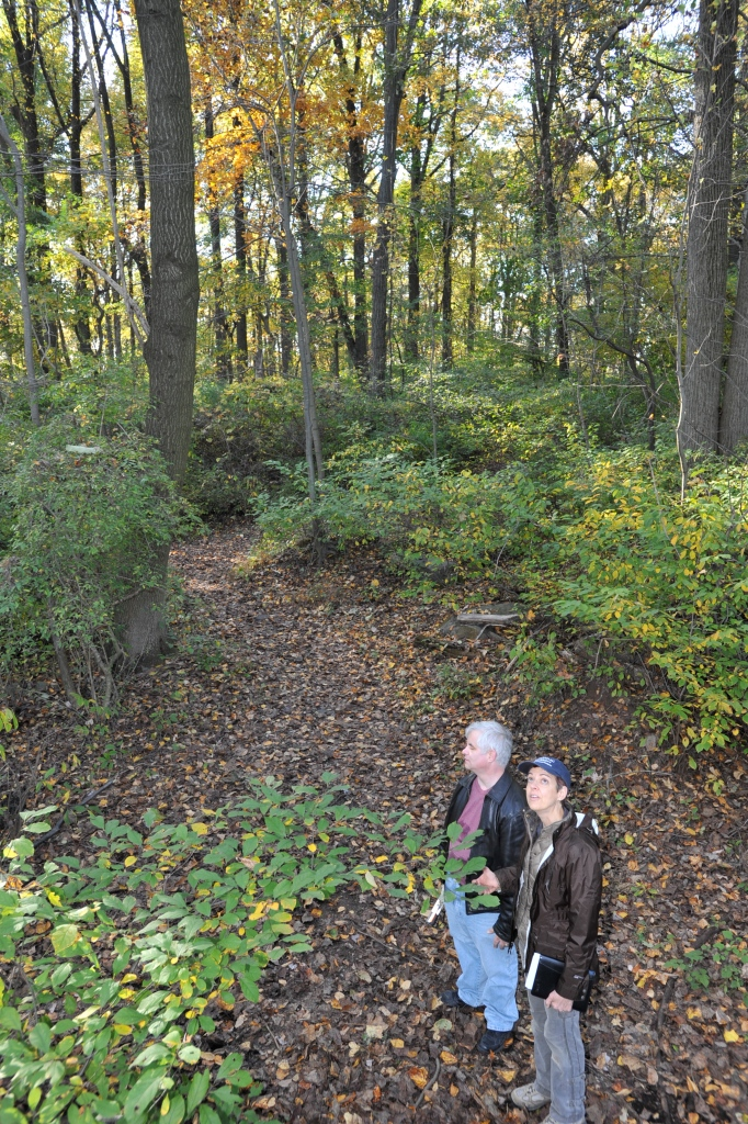 Barrows and Jurgens consider the Autumn wilderness. Photo: Frans Jurgens