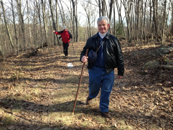 Brad Barrows hiking in Wieser State Forest, March 2015. Photo by: Katherine Jurgens