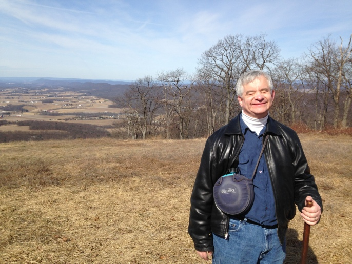 Brad Barrows at the peak of the trail he hiked in Weiser State Forest, March 2015. Photo: Katherine Jurgens