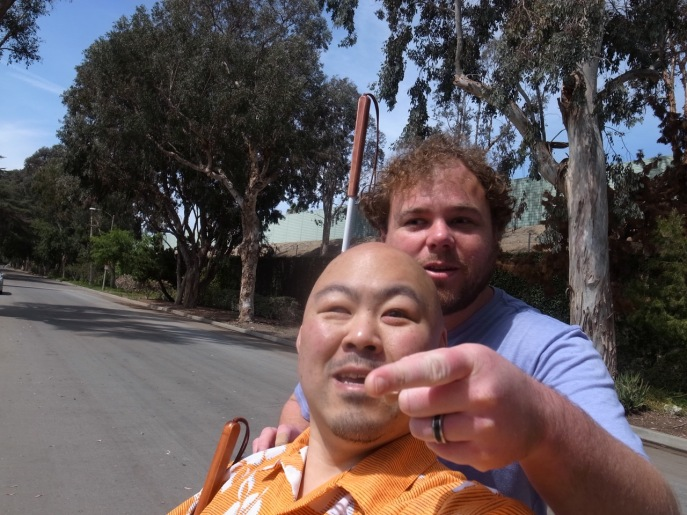 Bushway and Hirosawa practice navigating a neighborhood street near Los Angeles. Photo by: Ryo Hirosawa