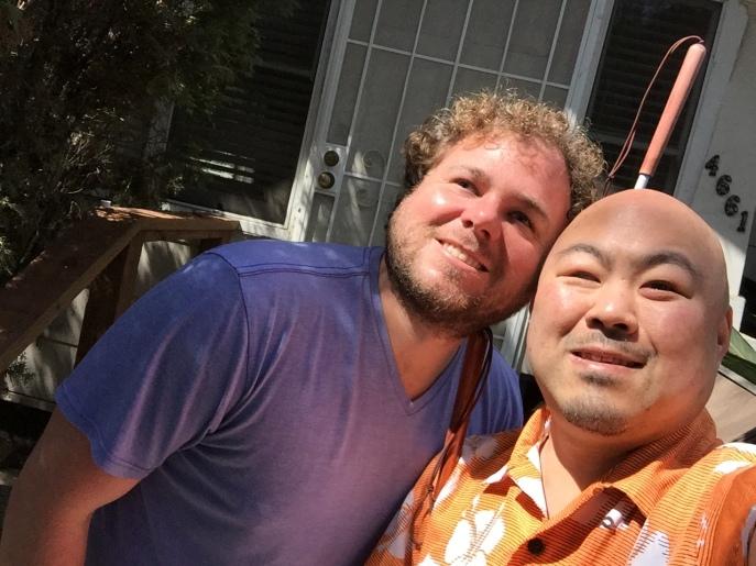 WAB Perceptual Navigation Coach Brian Bushway, left, and Flash Sonar student Ryo Hirosawa Photo by: Ryo Hirosawa