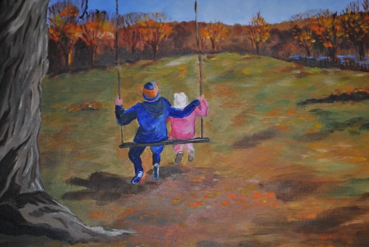 Original oil painting of The Swing Tree by Linda Reilly, Woodbridge, CT.