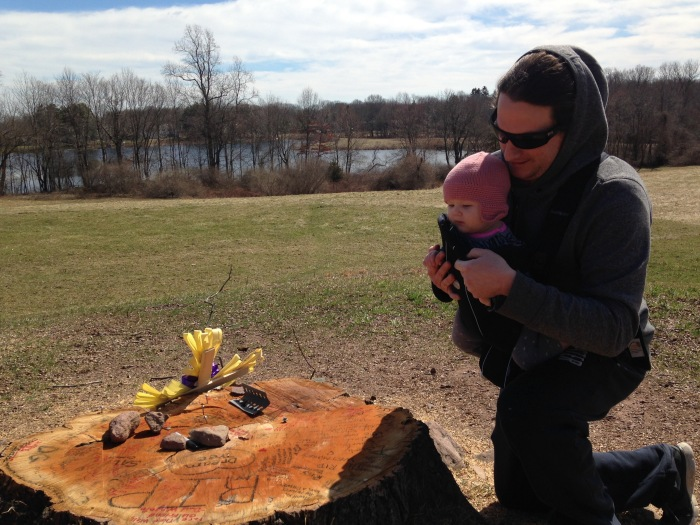 Tyler Methot of Hamden said he grew up visiting the tree and that he'd hoped to someday push baby Mackenie, 8 months, on its famed swing.